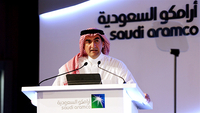 Yasir Al-Rumayyan, chairman of Saudi Arabian Oil Co. (Aramco), speaks during a news conference in Dhahran, Saudi Arabia, on Nov. 3, 2019. MUST CREDIT: Bloomberg photo by Mohammed Al-Nemer.