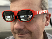 The Nreal AR smart glasses look like regular sunglasses. Well, almost. MUST CREDIT: Washington Post photo by Geoffrey Fowler