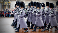 Coldstream Guards march after the Changing the Guard ceremony at Buckingham Palace in London on March 3, 2017. MUST CREDIT: Bloomberg photo by Luke MacGregor.