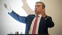 Carlos Ghosn, former chief executive officer of Nissan and Renault, gestures as he speaks to the media in Beirut, Lebanon, on Jan. 8, 2020. MUST CREDIT: Bloomberg photo by Hasan Shaaban.