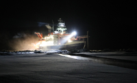 A crack opened up in the ice alongside the research vessel Polarstern. Researchers on the MOSAiC mission are struggling to cope with more fragile and easily fractured ice, a consequence of climate change. MUST CREDIT: Matthew Shupe/Colorado-Boulder/NOAA/CIRES