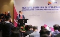 Vu Ho, director general of the ASEAN Department under the Vietnamese Ministry of Foreign Affairs, speaks at the symposium. — VNA/VNS Photo