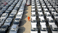 Cars made in China are ready for export in Lianyungang Port, Jiangsu province. [Photo by Wang Chun/For China Daily]