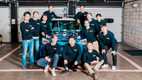 Lee Han-bin (second from left in second row), co-founder of South Korean lidar solutions startup Seoul Robotics, poses with his colleagues. Photo: Seoul Robotics