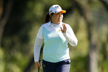 Inbee Park of South Korea reacts after a birdie on the 14th green during the first round of the Diamond Resorts Tournament of Champions at Tranquilo Golf Course at Four Seasons Golf and Sports Club Orlando on January 16, 2020 in Lake Buena Vista, Florida. (Photo by Michael Reaves/Getty Images)
