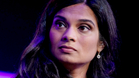 Vijaya Gadde, chief legal officer of Twitter., listens during the Wall Street Journal Tech Live global technology conference in Laguna Beach, Calif., on Oct. 21, 2019. MUST CREDIT: Bloomberg photo by Martina Albertazzi.