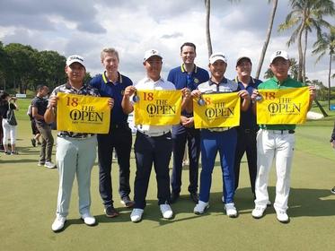 (Front row, from left) Poom Saksansin, Joohyung Kim, Richard Lee and  Ryosuke Kinoshita reserve spots in The Open.