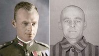 Left: A colorized portrait of Witold Pilecki sometime before World War II. Right: Pilecki as prisoner No. 4859 in Auschwitz in 1941. MUST CREDIT: Auschwitz-Birkenau Museum and Memorial