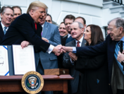 President Donald Trump participates in a signing ceremony for the United States-Mexico-Canada Trade Agreement at the White House on Wednesday, Jan 29, 2020. MUST CREDIT: Washington Post photo by Jabin Botsford