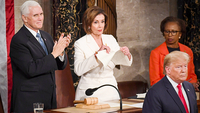 House Speaker Nancy Pelosi, D-Calif., tears up her advance copy of President Donald Trump's State of the Union address on Tuesday, Feb. 4, 2020. MUST CREDIT: Washington Post photo by Toni L. Sandys