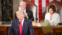 President Donald Trump gives his State of the Union address with Vice President Mike Pence and House Speaker Nancy Pelosi, D-Calif., in the background Tuesday, Feb. 4, 2020. MUST CREDIT: Washington Post photo by Jonathan Newton