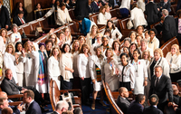 Female lawmakers wear white in a nod to the suffragette movement before the State of the Union address Tuesday, Feb. 4, 2020. MUST CREDIT: Washington Post photo by Toni L. Sandys