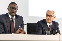 An Oct. 21, 2015 file photo shows Tidjane Thiam, then chief executive officer of Credit Suisse Group (left) with Urs Rohner, Credit Suisse chairman, in Zurich, Switzerland. MUST CREDIT: Bloomberg photo by Alessandro Della Bella.