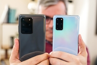 The Samsung Galaxy S20 Ultra, left, contains an internal optical zoom lens not available on the Galaxy S20+.  Washington Post photo by Jonathan Baran