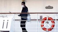 An area on the Diamond Princess cruise ship where passengers walked is sprayed on Feb. 13, 2020 in Yokohama, Japan. MUST CREDIT: Japan News-Yomiuri