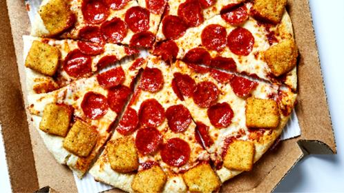 Pizza Hut's mozzarella popper crust pizza. MUST CREDIT: Photo by Stacy Zarin Goldberg for the Washington Post.