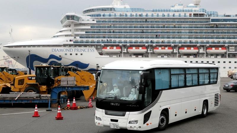 A bus believed to be carrying elderly passengers of the Diamond Princess cruise ship leaves the Daikoku Pier Cruise Terminal in Yokohama, Japan, on Feb 14, 2020.PHOTO: EPA-EFE