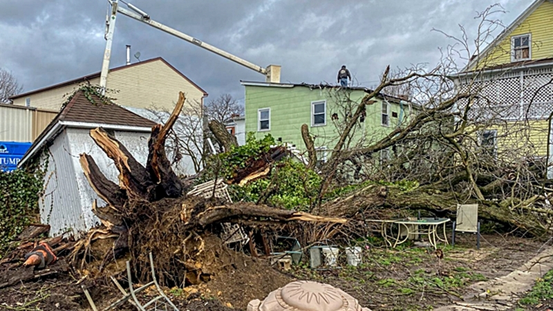 Tornado damage in Westminster, Md., on Feb. 7. MUST CREDIT: Photo for The Washington Post by Doug Kapustin