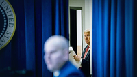 President Donald Trump prepares to deliver remarks to National Border Patrol Council members at the White House on Friday, Feb. 14, 2020. MUST CREDIT: Washington Post photo by Jabin Botsford