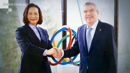 IOC member Khunying Patama Leeswadtrakul and IOC president Thomas Bach