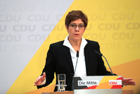 Annegret Kramp-Karrenbauer, outgoing leader of the Christian Democrat Union (CDU), gestures while speaking during a news conference at the CDU headquarters in Berlin on Feb. 24, 2020. MUST CREDIT: Bloomberg photo by Krisztian Bocsi.