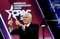 Vice President Mike Pence is pictured at the Conservative Political Action Conference (CPAC), an annual meeting at the Gaylord National Resort & Convention Center in Maryland on Thursday. MUST CREDIT: Washington Post photo by Toni L. Sandys