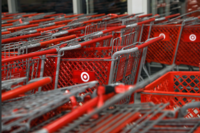 Empty shopping carts at a Target store in the Queens borough of New York on Nov. 28, 2019. MUST CREDIT: Bloomberg photo by Bess Adler.