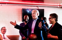 Democratic presidential candidate and former vice president Joe Biden meets California voters at the famous Roscoe's House of Chicken and Waffles in Los Angeles on Tuesday. MUST CREDIT: Washington Post photo by Melina Mara