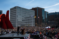 Sen. Bernie Sanders, I-Vt., speaks during a rally at Calder Plaza in Grand Rapids, Mich., on Sunday. MUST CREDIT: Washington Post photo by Salwan Georges