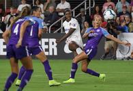 Washington Spirit forward Cheyna Matthews takes a shot on goal against the Orlando Pride in August 2019. MUST CREDIT: Washington Post photo by Toni L. Sandys