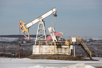 An oil pumping jack in an oilfield near Almetyevsk, Russia, on March 11, 2020. MUST CREDIT: Bloomberg photo by Andrey Rudakov.
