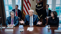President Donald Trump meets with bank CEOs about the coronavirus response at the White House on Wednesday. Washington Post photo by Jabin Botsford.