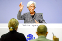 Christine Lagarde, president of the European Central Bank, gestures during the central bank's rate decision news conference in Frankfurt, Germany, on March 12, 2020. MUST CREDIT: Bloomberg photo by Alex Kraus.