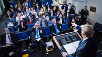 Journalists at a White House media briefing with President Donald Trump discussing the coronavirus crisis on Tuesday. MUST CREDIT: Washington Post photo by Jabin Botsford