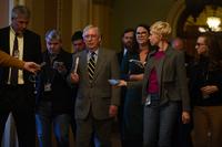 File photo of Senate Majority Leader Mitch McConnell, centre.