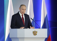 Vladimir Putin, Russia's president, speaks during his annual state of the nation address in Moscow, Russia, on Wednesday, Jan. 15, 2020. The Russian economy has nearly doubled since Putin took power in 2000, according to Bloomberg Economics estimates. Photographer: Andrey Rudakov/Bloomberg