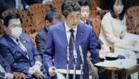 Prime Minister Shinzo Abe speaks about the possibility of postponing the Tokyo Olympics and Paralympics at the Diet on Monday.