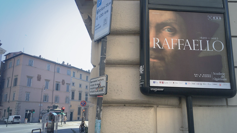 Currently, the only visible part of the Raphael show is advertisements. MUST CREDIT: Bloomberg photo by Vernon Silver.