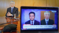 Prime Minister Lee Hsien Loong in a live interview on CNN's programme, Fareed Zakaria GPS. PHOTO: MINISTRY OF COMMUNICATIONS AND INFORMATION