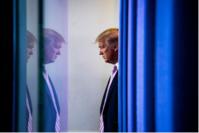 President Donald Trump arrives to speak at a coronavirus briefing Wednesday, April 1, 2020. MUST CREDIT: Washington Post photo by Jabin Botsford