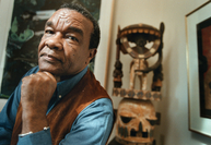 David C. Driskell at home with some of his artwork in 2002. MUST CREDIT: Washington Post photo by Lucian Perkins