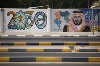A wall mural displays the 2030 Vision logo and Saudi Arabia's Crown Prince Mohammed bin Salman in Dhahran, Saudi Arabia on Oct. 4, 2018. MUST CREDIT: Bloomberg photo by Simon Dawson.
