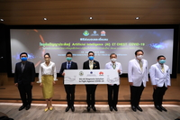 Buddhipongse Punnakanta (4th left), Digital Economy and Society Minister together with Abel Deng (3rd left), CEO, Huawei Technologies (Thailand) Co., Ltd., provide AI-assisted solution with 5G technology to Siriraj Hospital, led by Prof Dr Prasit Watanapa (5th left) M.D., Dean of Faculty of Medicine Siriraj Hospital