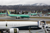 Boeing Co. 737 Max planes are seen at the company's manufacturing facility in Renton, Wash., in March 2019. MUST CREDIT: David Ryder/Bloomberg