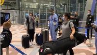 Ariya Jutanugarn (left) and her sister Moriya Jutanugarn (right) upon their arrival at Suvarnabhumi airport.