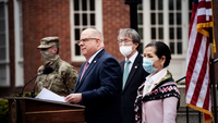 Maryland Gov. Larry Hogan was joined by his wife, Yumi Hogan, right, to announce that the state received 500,000 Covid-19 tests from South Korea during a news conference in Annapolis, Md., on Monday. MUST CREDIT: Washington Post photo by Michael Robinson Chavez