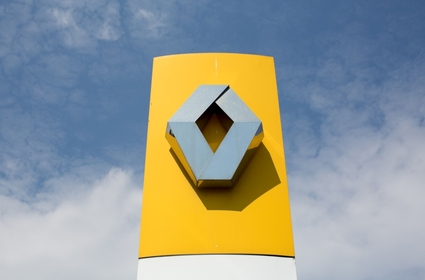 A Renault logo outside the Renault automobile assembly plant in Moscow on May 28, 2019. MUST CREDIT: Bloomberg photo by Andrey Rudakov.