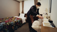 A hotel room prepared for mildly infected people in Osaka on Tuesday