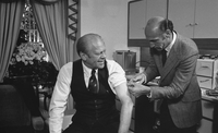 President Gerald Ford receives a swine flu inoculation from his White House physician, William Lukash, in 1976. MUST CREDIT: David Hume Kennerly/Courtesy Gerald R. Ford Library