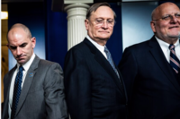 Robert Kadlec (center), head of the Office of the Assistant Secretary for Preparedness and Response, has spent his career focused on biodefense. MUST CREDIT: Washington Post photo by Jabin Botsford.